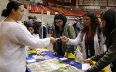 Students get information at Hispanic College and Career Fair