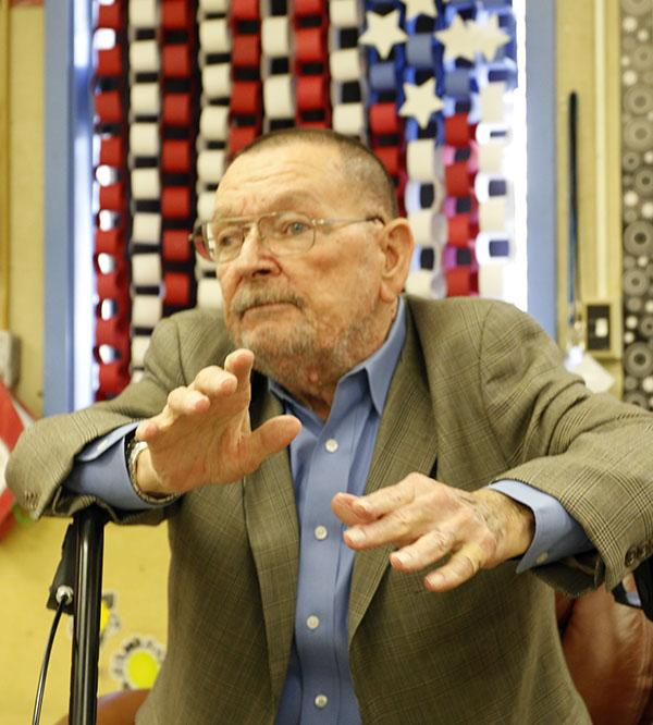 Richard+Pittman%2C+who+received+the+Medal+of+Honor+for+his+efforts+in+the+Vietnam+War%2C+spoke+to+John+Tyler+Elementary+students+March+19+about+his+experiences+after+the+war.+
