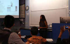 Former student Sereena Nand presents her end project on her research in front of SEED professors, sponsors and other participants.