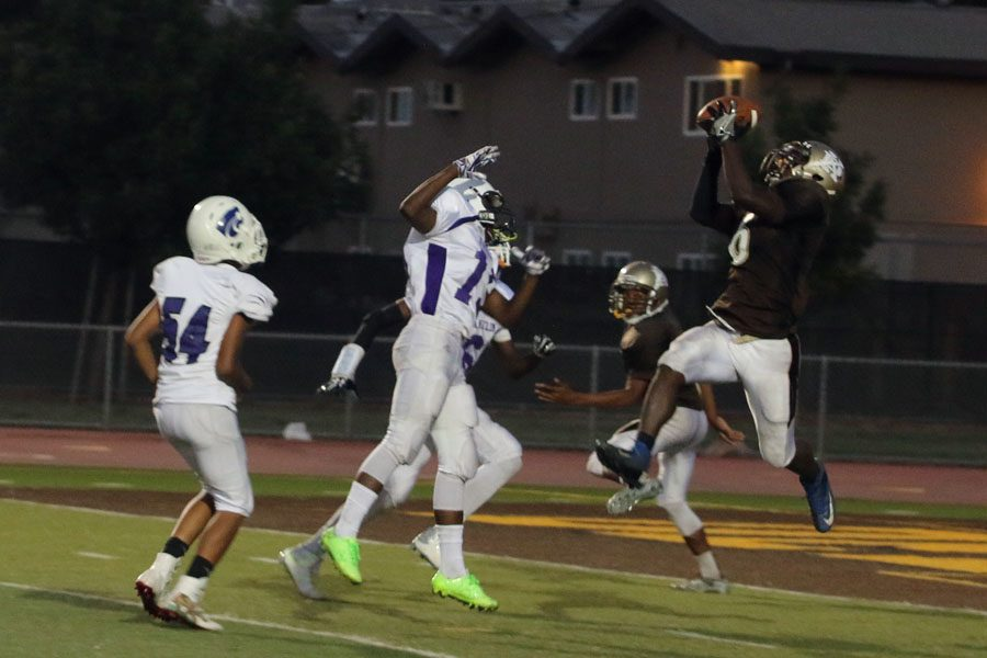 Zion Garry goes up for the two handed grab and scores the last touchdown. The final score of the night 49-22 with the Franklin Wildcats beating the freshmen team.