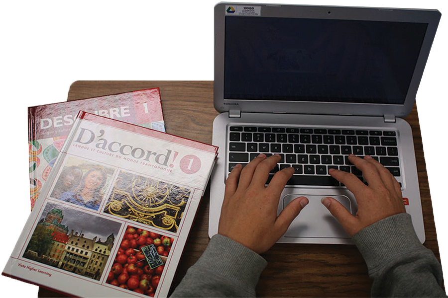 Although the school is pushing for this transition to the vText, there are textbooks available for students to check out. Students and teachers must talk in order to deal with a situation where the student may not have access to the vText.