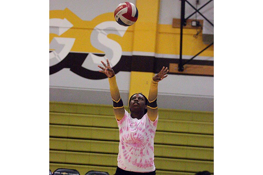 Senior+Malerie+Williams+warms+up+before+her+last+game+against+Chavez+High+School.+After+four+years+of+playing+volleyball%2C+it%E2%80%99s+time+for+Williams+to+put+away+her+knee+pads%2C+and+hang+up+her+jersey.