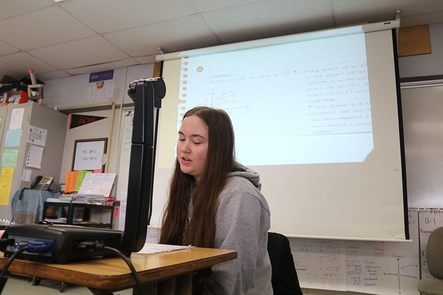 Senior Kelley McGinnis presents an example of a transformation of a function.