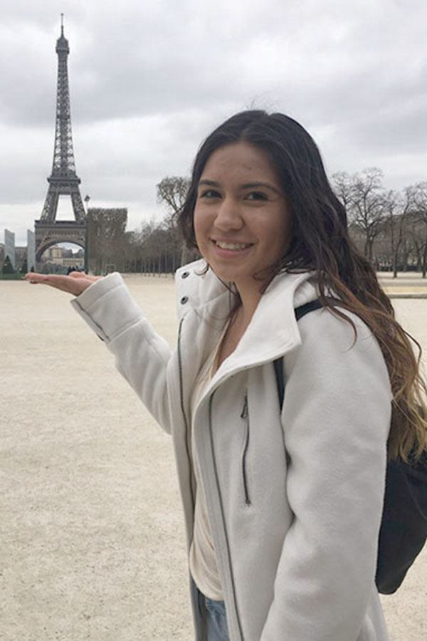 "Senior Lizeth Barajas saved over $3000 to pay for the 2017 France trip. She fundraised and used most of her birthday and Christmas money to make numerous payments. ""It was totally worth it."""
