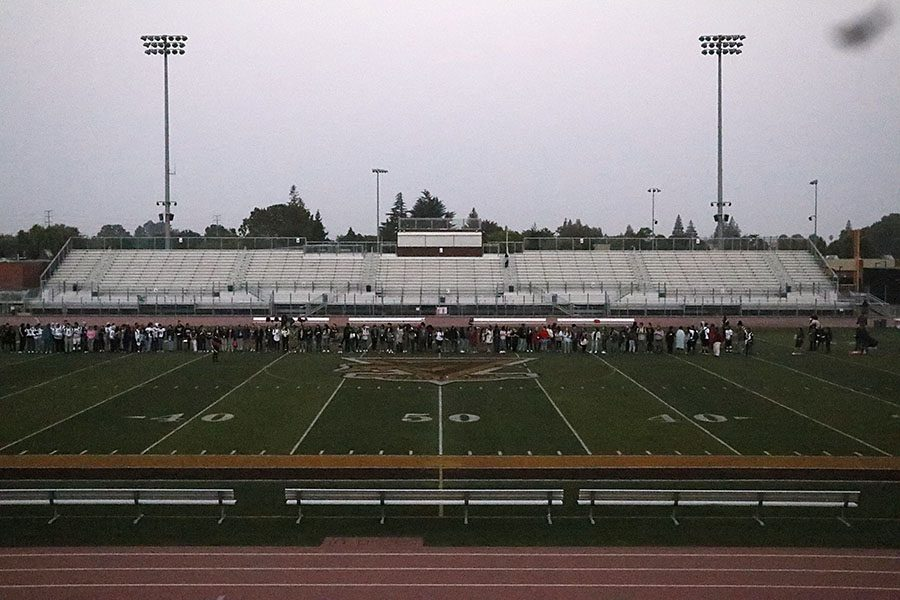 Stagg seniors line up for a group activity that involves all of  them
