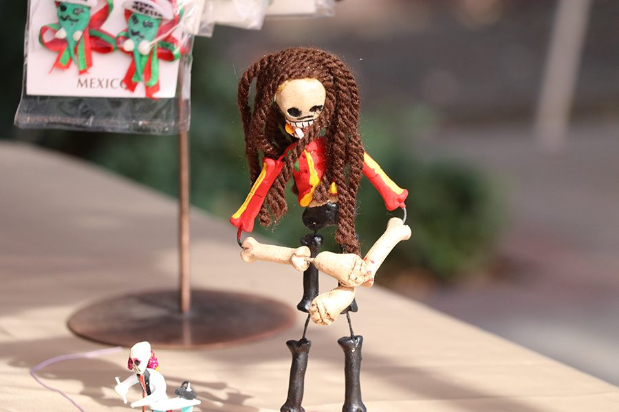 Shops set up around the festival sell items Day of the Dead related, such as this little desk decoration