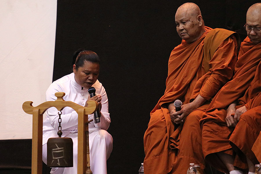 Buddhist monks from Temple Wat Dhammararam perform a blessing before the formal program began. The Southeast Asian community pays their respects to the fallen children and their families through multiple rituals and performances.