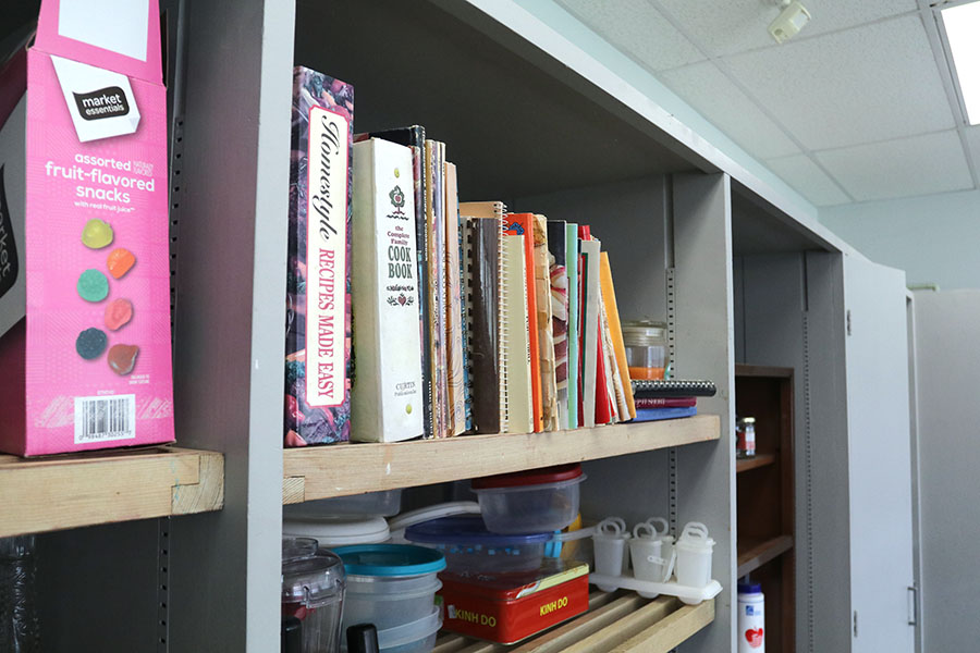 The+many+books+in+the+backroom+is+used+in+for+her+teachings.+French+class+is+taught+how+to+make+french+desserts+like+crepes.