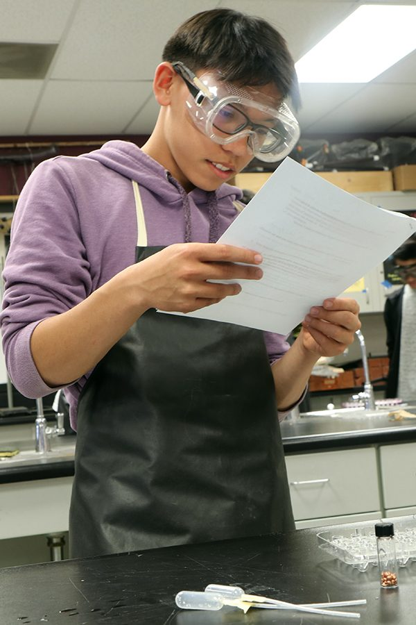 Junior Jeffrey Gonzales reads through his packet to get a better understanding of the lab.