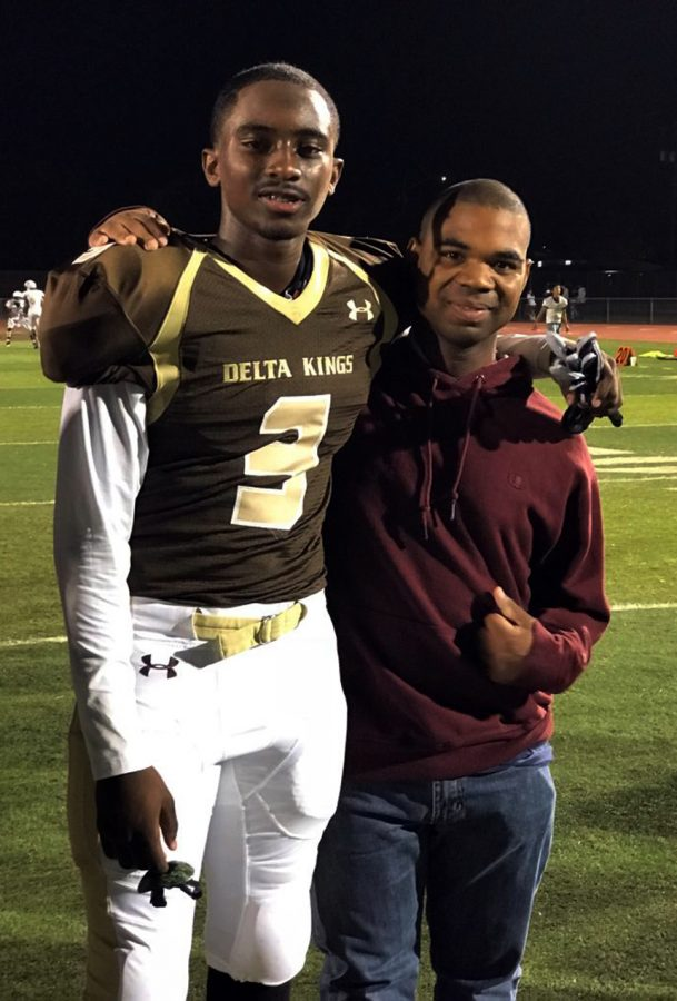 Senior Lamonte Thompson was accompanied by his step brother, Dino Holmes, on his senior night Oct. 26, 2018.  He will remember sharing laughs with him and getting ready together in the mornings.