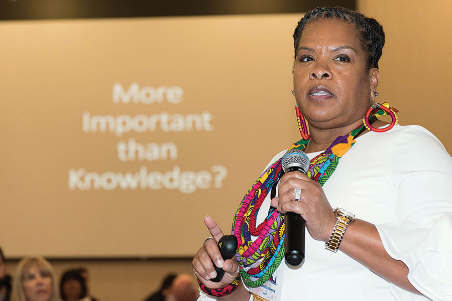 Consultant Dr. Almitra Berry was the keynote speaker at Stockton Unified's Imagine Promise Summit held April 4 at the University of the Pacific. Many community members like the mayor, SUSD board members, and business people gathered to discuss the importance of education and the steps that will be taken to make it better.